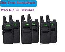 6PCS แบบพกพาวิทยุ WLN KD C1 MINI Wiress UHF Walkie Talkie Transceiver วิทยุสมัครเล่นวิทยุสื่อสารแบบใช้มือถือ рация
