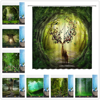 Dream Forest Scenery Shower Curtains Animal elk Flower Antlers 3D Print Waterproof Bathroom Home Decor Bathtub Polyester Curtain