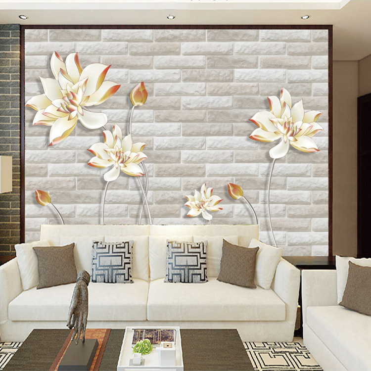 TV Backdrop Wallpaper 3D Living Room Bedroom Mould Proof Relief Mural Nonwoven Fabric Seamless Simple Wall Cloth