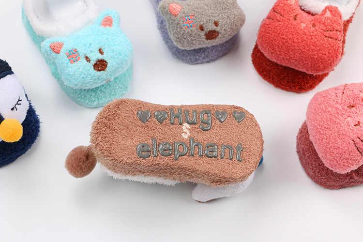 [Chaussettes de poupée de fil de plume] corée du sud automne et hiver corail velours dessin animé chaussettes pour enfants infantile petit plancher de bébé pour enfants