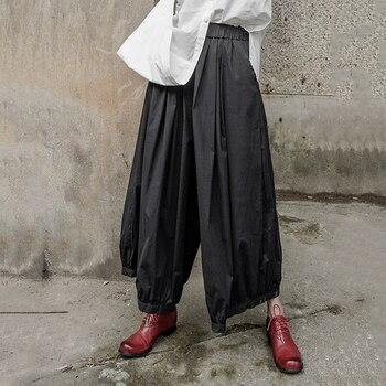 TVVOVVIN 2019 nowa jesienna zima wysokiej w pasie czarne plisowane szerokie nogawki luźne spodnie damskie modny guzik luźne B443