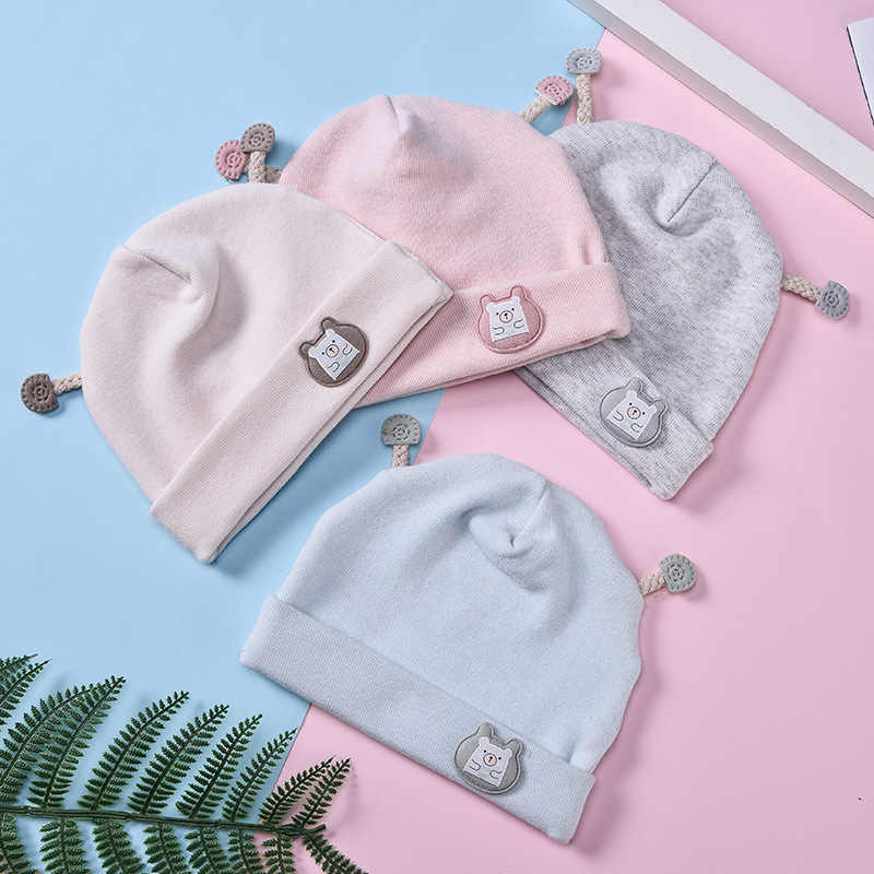 2019 ใหม่เด็กทารกน่ารักหมวกฤดูใบไม้ผลิฤดูใบไม้ร่วงเด็กหมวกเด็กหญิงหมวกถักฤดูหนาว Warm สีการ์ตูนเด็กหมวก