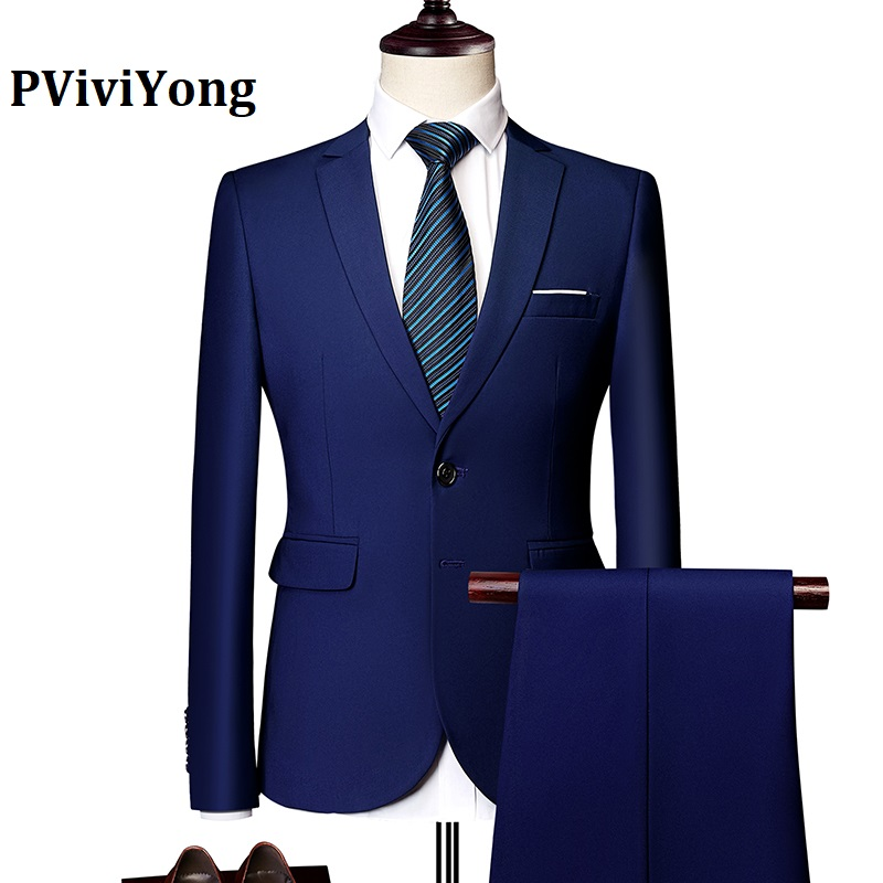 PViviYong Brand 2019 High Quality Suit Men,wedding Dinner Party Interview Suit Two-piece (Jackets + Pants) 533