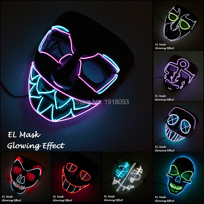 New Type Glow Party Mask LED Strip Mask Festival Novelty Lighting Decoration EL Wire Rave Mask + 3V Voice Controller