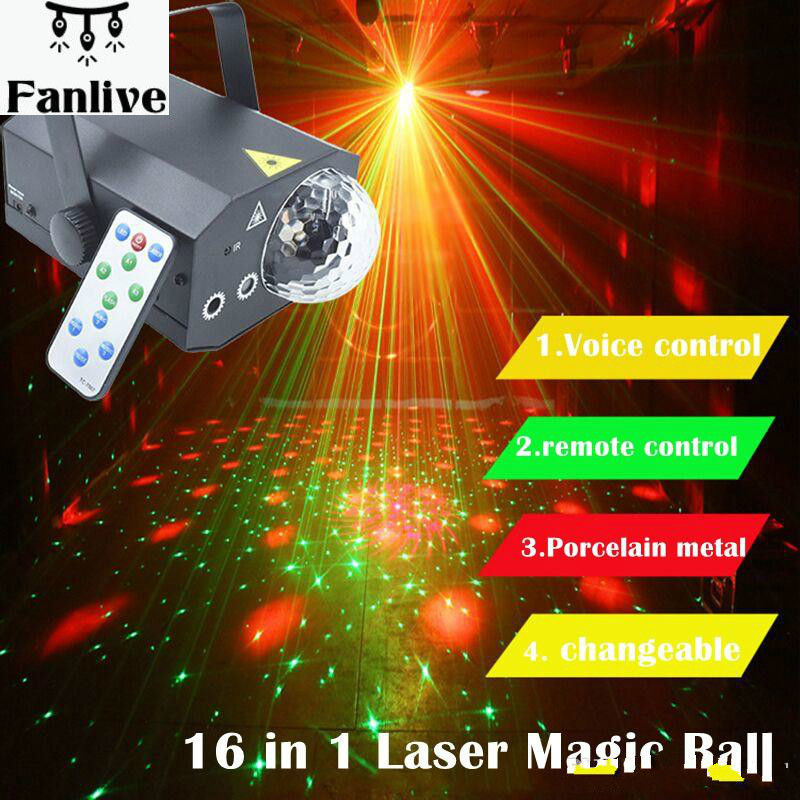 5pcs 16 In 1 Pattern LED Laser Stage Lights Projector Magic Ball DJ Disco Light With Remote Control KTV Bar Party Lamp