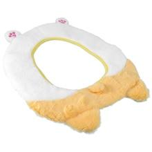 1PC Plush Thickened Toilet Seat Cartoon Corgi Sticky Type Toilet Cushion (White)