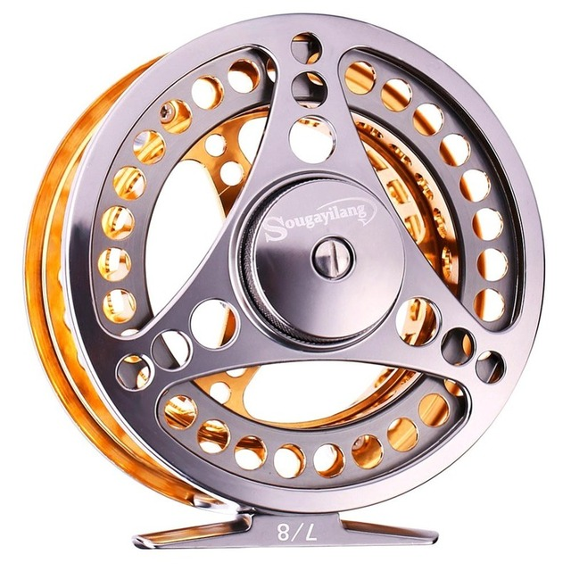 Sougayilang Large Arbor Fly Fishing Reel 2+1 BB High Die Casting Aluminium Alloy Spool Fly Reels Fishing Tackle 2