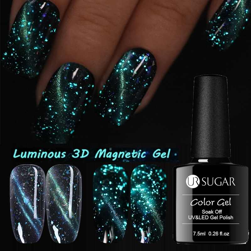 UR Gula 7.5 Ml Luminous Magnetic 3D Mata Kucing Kuku Gel Polandia Gemerlapan Glitter Gel Varnish Rendam Off Uv Gel pernis Hitam Berdasarkan Perlu