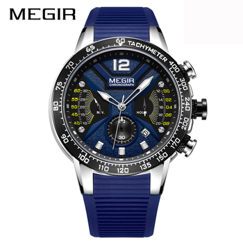 MEGIR Men Creative Watch Relogio Masculino Business Sport Quartz Clock Chronograph Military Rubber Strap Male Wristwatch Clock