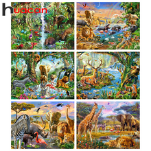 Huacan Paint With Diamonds Tiger Full Square Drill Diamond Painting Embroidery Animal Home Decoration Handicraft
