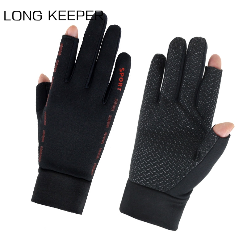 Long Keeper Men Fishing Gloves Spring Autumn Gloves Outdoor Cycling Running Two Fingers Cut Sports Anti-slip Gloves Guantes