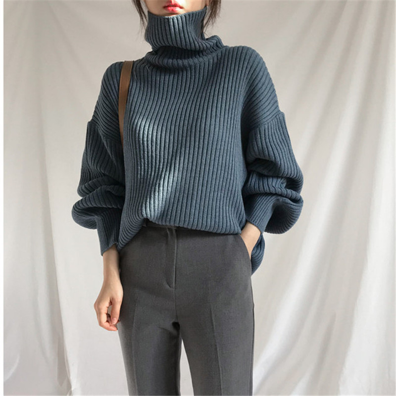 Autumn Winter Turtleneck Pullovers Sweater Women Long Sleeve Loose Sweater Jumper Female Solid Warm Knit Pullover Winter Clothes