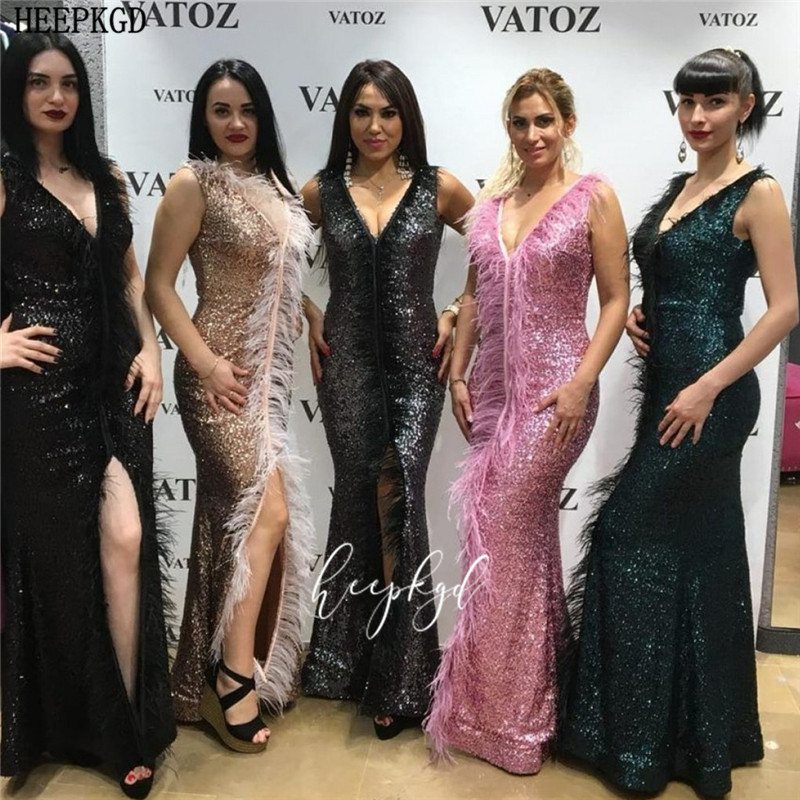 New Design Dusty Rose Sequin Mermaid Prom Dresses With Feathers Side Slit V Neck Long Girls Graduation Dress Women Pageant Gowns