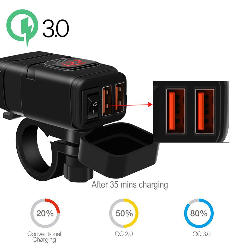 Motorcycle Vehicle-mounted Charger Waterproof USB Adapter 12V Phone Dual Quick Charge 3 0 Voltmeter ON OFF Switch Moto Accessory