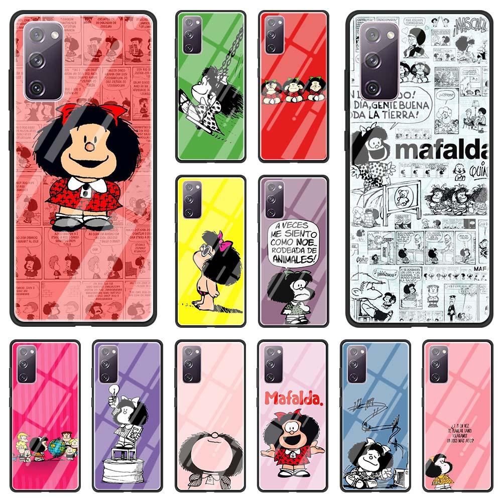 Case For Samsung Galaxy S20 FE S10 Plus S21 Ultra S9 S8 S10e Lite Glass Hard Back Cover Funda Mafalda Cute Cartoon New