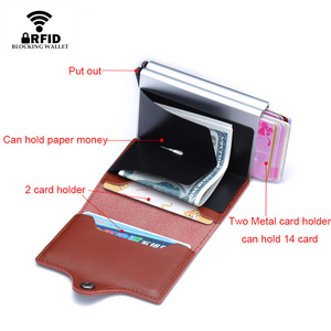 Image 3 - Genuine Leather Men Women Credit Card Holder Security Wallet Big Metal Rfid Blocking Double Box Creditcard Case Bag Protection