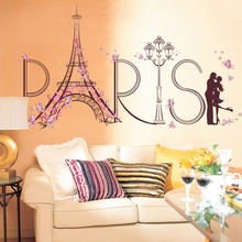 Romantic Lovers Wall Sticker PARIS Letters Decal Vinyl Art Mural DIY Home Beddroom Decor Removable welcome sign many languages wall sticker decal art vinyl mural office shop home wall decor welcome diy wallpaper removable bg07