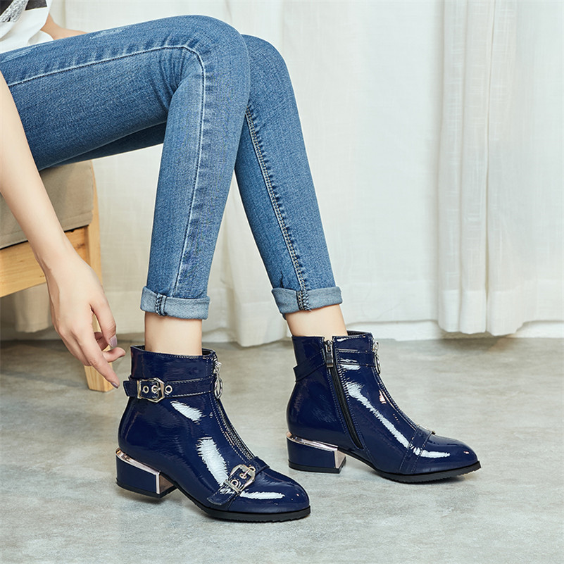 Meotina Winter Ankle Boots Women Patent Leather Zipper Thick Heels Short Boots Buckle Round Toe Shoes Ladies Autumn Big Size 43