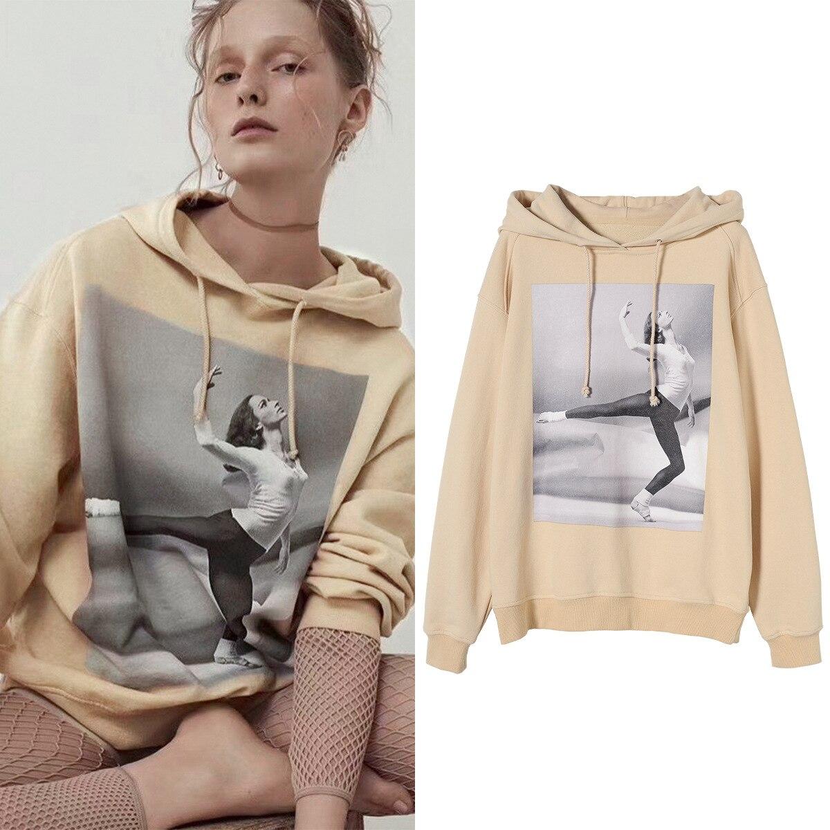 Spring Autumn Letter Print Dancer Oversize Loose Coat Hooded Sweatshirt Women's Long Sleeve Hoodie A3