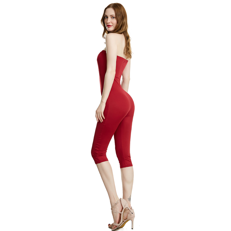 Women's Low Cut Beach Sleeveless Slash Neck Long Jumpsuit Bandeau Bohemian Holiday Casual Slim Backless Mid Calf Jumpsuit