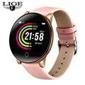 Новые модные кожаные Смарт-часы для женщин и мужчин для iPhone, пульсометр, шагомер, женские умные спортивные часы для фитнеса