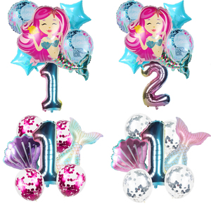 6/8pcs Little Mermaid Party Balloons Girl Favor Rainbow Gradient 32inch Number Balloon Birthday Party Decorations Wedding Ballon(China)