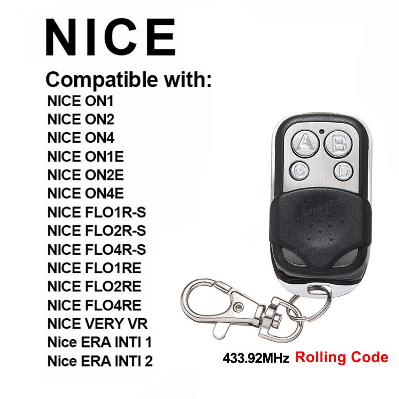 NICE FLORS NICE FLO2RE Nice FLO2R-S Garage Door Remote Control Key Chain For Barrier Command Garage Gate Control Rolling Code