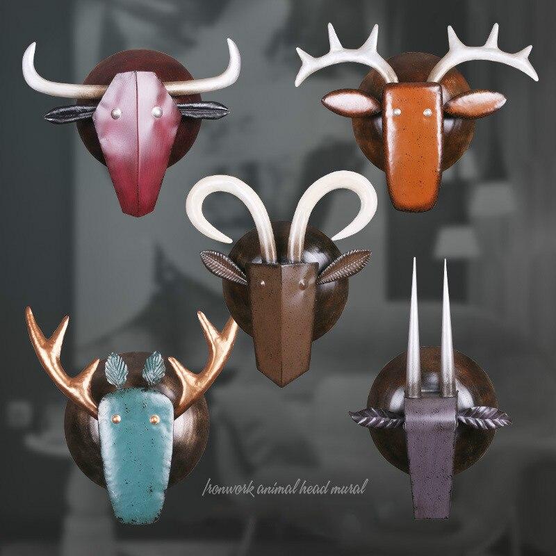 Vintage Iron Art Animal Head Hanging Industrial Wind Ox Head Deer Head Metal Hanging Decoration Wall Decoration Crafts Gifts