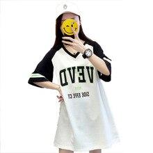 купить #2111 Short-sleeve Cotton T Shirt For Women Letter Printed T-shirts Female Plus Size Loose Tee Shirts Ladies Streetwear Harajuku дешево