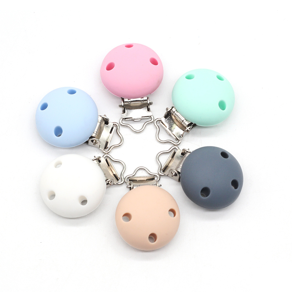 2pcs Baby Pacifier Clip Silicone Soother Teether Nipple Holder Round Soft Clips Toys Buckle Newborn Nursing Supplies DIY