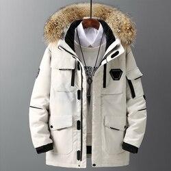 Утепленное мужское пуховое пальто с большим натуральным меховым воротником, теплая парка-30 градусов, мужская повседневная Толстая зимняя в...