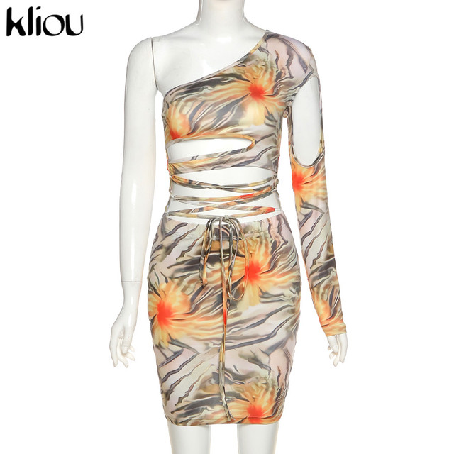 Kliou Lace Up Floral Print Mini Dresses Women Bandage One Shoulder Sexy Skinny Bodycon Clubwear Female Fashion Outfits 2020 Hot 6
