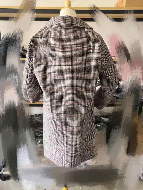 S-3xL Hahnentritt woolen mantel weibliche lange abschnitt Koreanische version 2019 neue winter plus baumwolle dicke lose tartan mantel