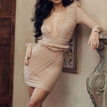 Yesexy 2019 Sexy Deep V Neck Long Sleeve Lace  Bodycon Women Dresses Ruffles Solid Color Mini VR19686