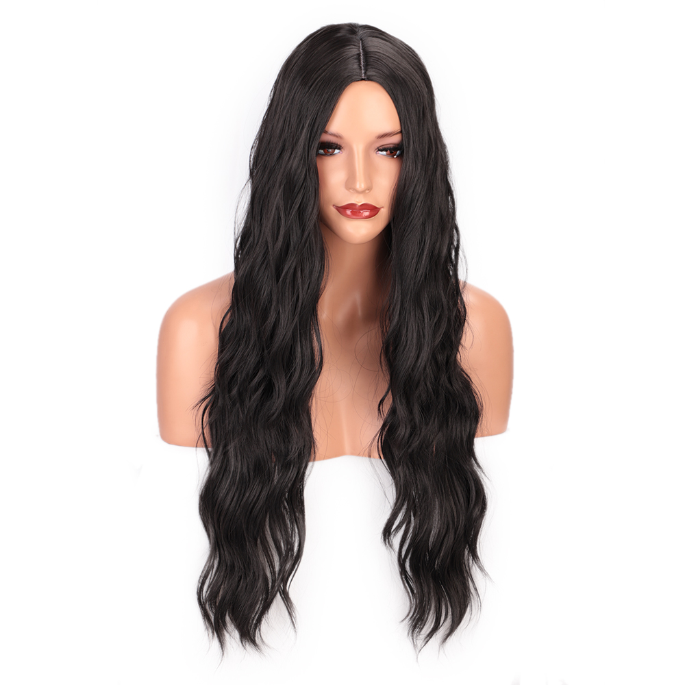 Vigorous 24inch Black Synthetic Wigs Long Wavy Wigs For Women Synthetic Wig Nature Hairline Heat Resistant