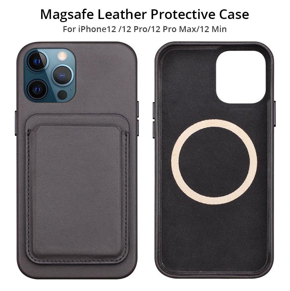 BONOLA Original Leather Magnetic Card holder for iPhone 1212Mini12 Pro12 Pro Max Magsafe Case Back Wallet Card Pocket Holder (1)
