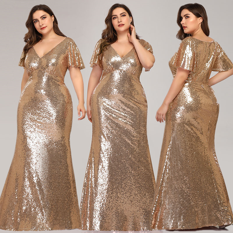 Plus Size Rose Gold Evening Dresses Long Mermaid V-Neck Sequined Formal Party Dresses