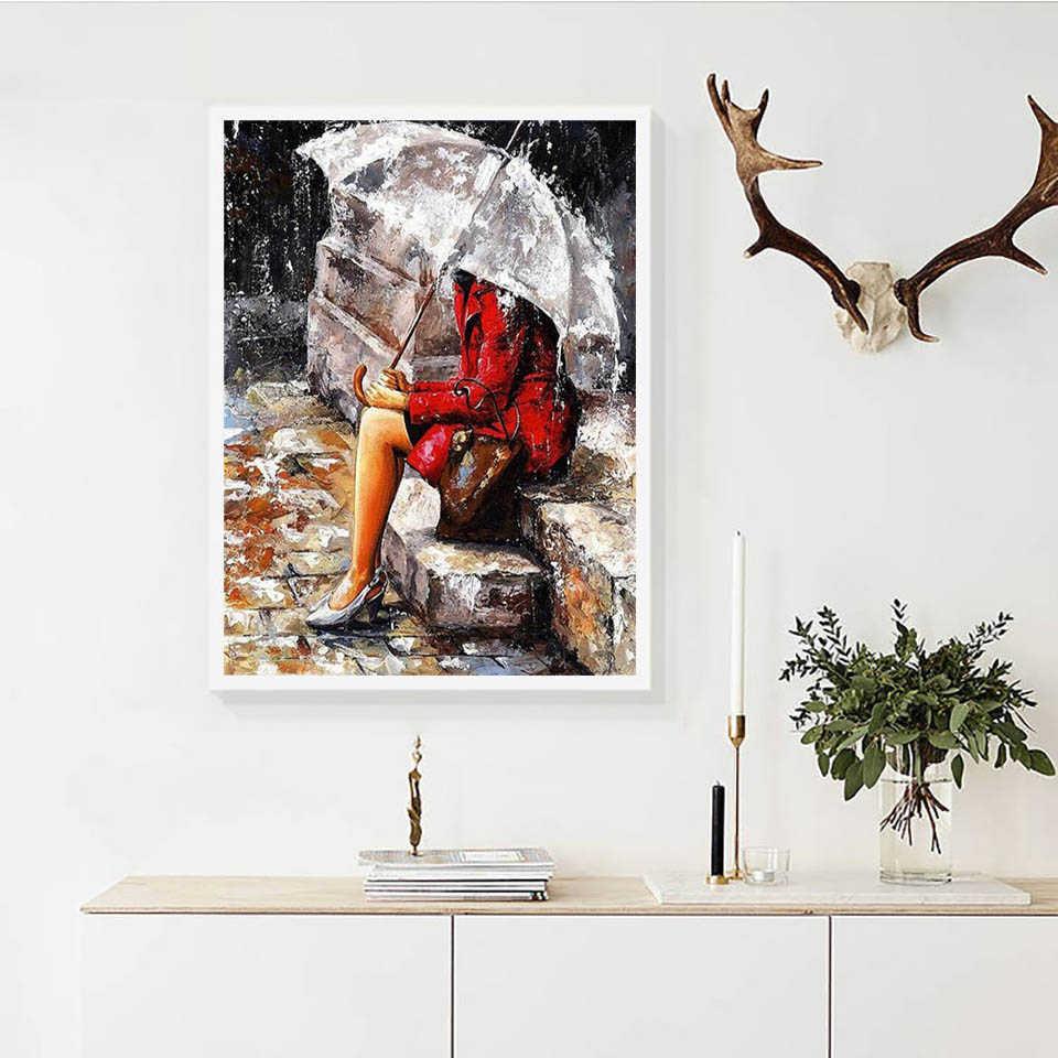 Azqsd Unframe Tranh Bằng Số Gái Sơn Acrylic DIY Trang Trí Tô Màu Bằng Số Cho Người Lớn Chân Dung Handpainted Tặng