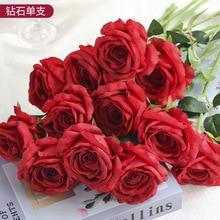 Artificial Rose Flower Silk Single Home Decoration Wedding Landscaping