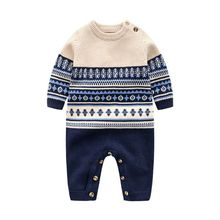 Baby Sweater Ropa-De-Bebe Knitted Toddler Newborn Cotton Winter Romper Long-Sleeve Round-Neck