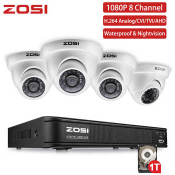 ZOSI 4CH FULL 1080P HD Video Security System with 4x 2.0MP 1080P Weatherproof Dome Surveillance Cameras Kit - DISCOUNT ITEM  51% OFF All Category
