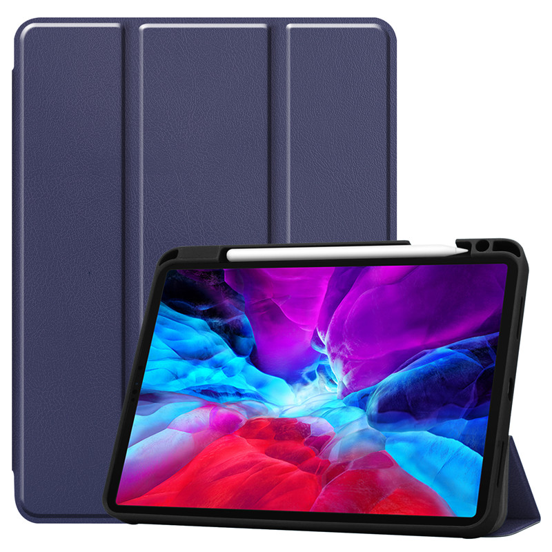 Dark Blue Red Painted Case For iPad Pro 12 9 Case 2020 PU Leather TPU Back Stand Smart Cover