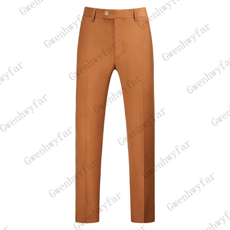 Gwenhwayfar, мужские синие клетчатые брюки, деловой костюм, брюки, деловые повседневные облегающие брюки, Классический Клетчатый костюм, брюки для свадьбы - Цвет: caramel color