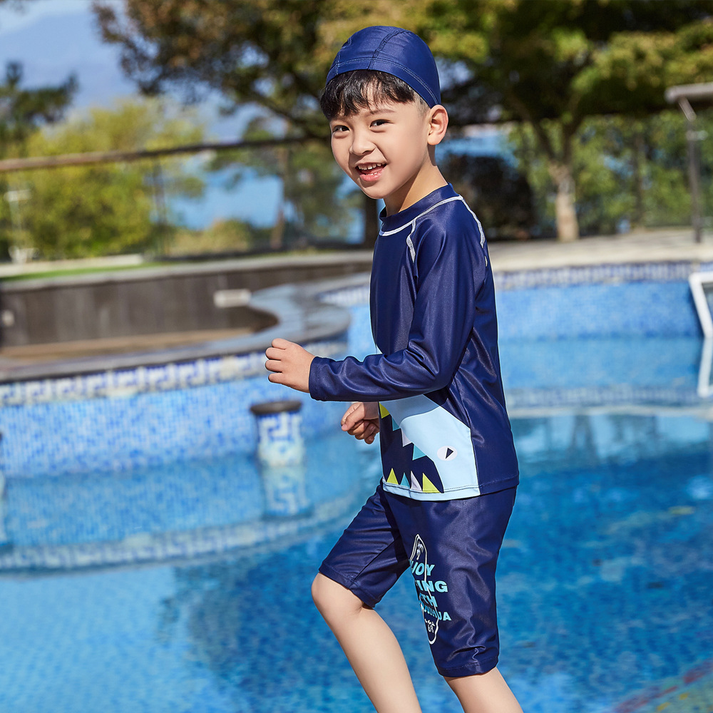 2019 Children Split Type Swimsuit Male Baby Bubble Hot Spring Swimsuit For Boys Handsome Cute Sports Olive Flower 1032