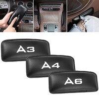 カーシートアクセサリーパッド腿のサポートアウディ A4 A3 A6 革枕インテリアソフトクッション -