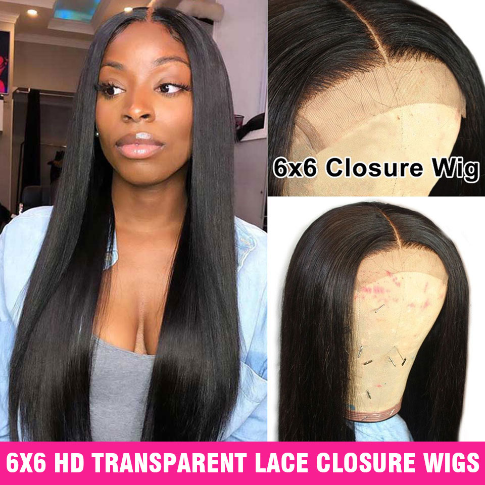 150 Density Hd Transparent 6X6 Closure Wig Lace Front Human Hair Wigs Pre Plucked Straight Frontal Wig 13X6 Brazilian Wig Remy