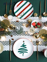 Nordic Ceramic Tableware Gold-plated Dish Bowl Coffee Mug Spoon/Fork/Knife Dishes and Plates Sets Christmas Decorations for Home