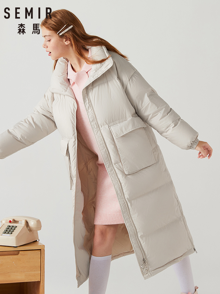 SEMIR 2019 Winter New Down Jacket Women Loose Long Paragraph Over Knee Long Thin Thick Gray Duck Coat