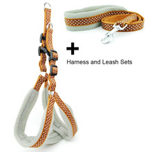 Hund Harness Weste Leine Polka Dot Atmungsaktive Mesh Pet Produts Adjustbale Outdoor Fuß Leine Hund Kragen für Medium Large Hunde(China)