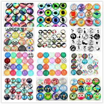 Hot Sale 10pcs 20mm Mixed  Nebula, owl, anime girl, eyes Handmade Glass Cabochons Pattern Domed Jewelry Accessories Supplies
